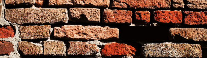 Creative Rustic Brick Wall Background with copy space