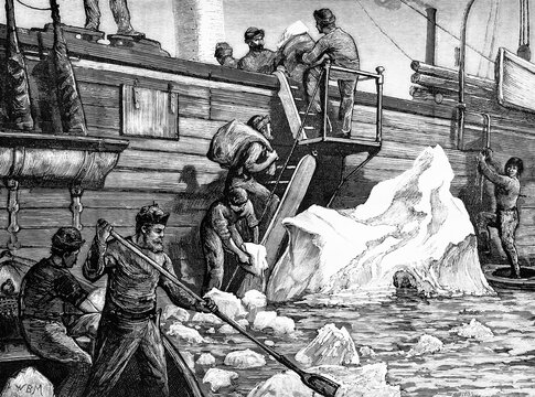 English expedition to the North pole, in Bantry bay. The crew of the Alert breaking icebergs and using them to collect water. Antique illustration. 1875..