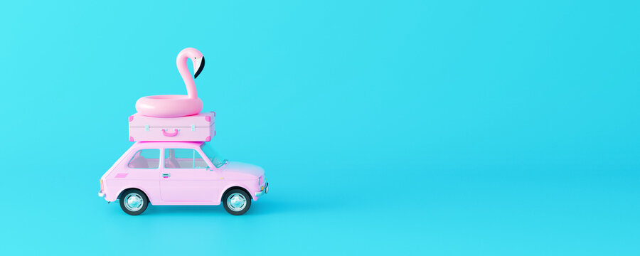 Pink car with luggage and flamingo on pastel blue background. Creative minimal summer concept idea 3D Render 3D illustration