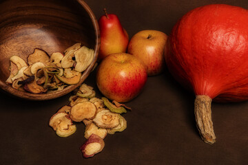 Fall seasonal still life with many fruits
