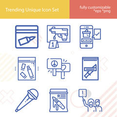 Fototapeta Simple set of demonstrate related lineal icons. obraz
