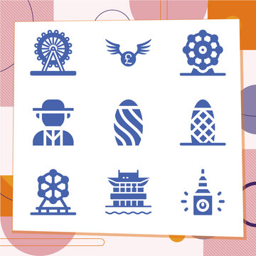 Simple set of 9 icons related to westminster