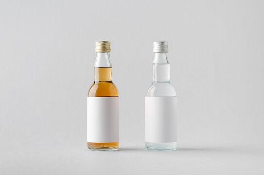 Miniature Spirits / Liquor Bottle Mock-Up - Two Bottles. Blank Label