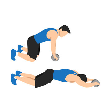 Man doing abdominal roller exercise side view. vector illustration isolated on background