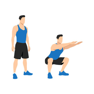 Exercise guide by man doing air squat in 2 steps in side view. Illustration about workout position introduction.