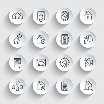 Real estate line icons set, tenants, houses for rent, insurance