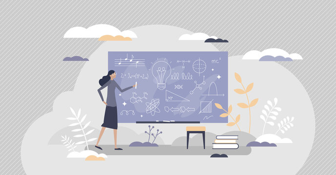 Chalkboard or blackboard with teacher writing scribble tiny person concept