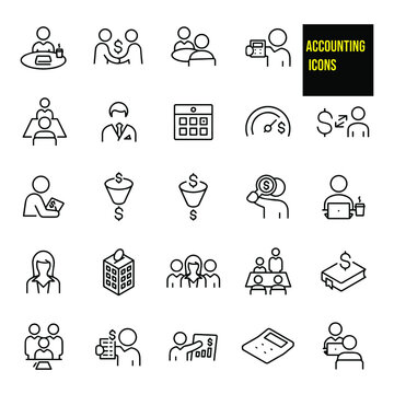 Accounting Thin Line Icons -  stock illustration. A set of accounting icons that include editable strokes or outlines using the EPS vector file. The icons include accountants, accountant studying.