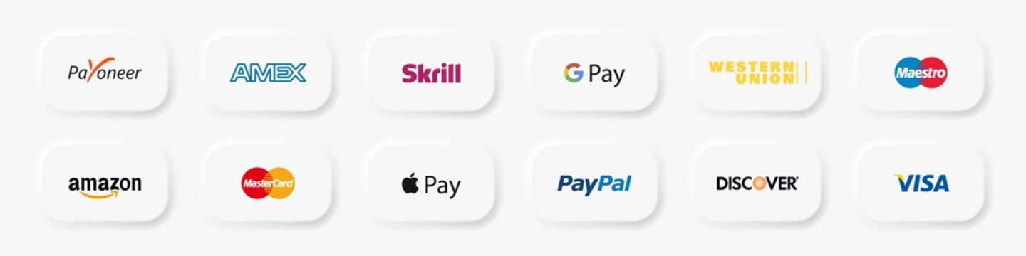 Skrill, Payoneer, PayPal, Mastercard, Visa, Amazon, Discover, WU etc- popular payment systems. Google pay, app pay icons. Google Play Store, Apple Store buttons. Kyiv, Ukraine - October 9, 2020