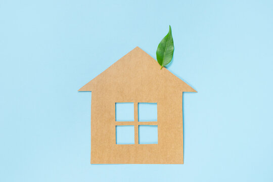 House made of craft paper and green leaves of a plant on a light blue background. Eco-friendly home concept, healthy lifestyle, zero waste.