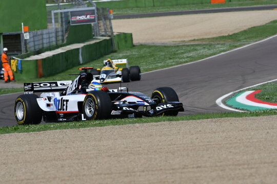 Imola, IT, May, 2018: unknown run with Minardi F1 Model PS05 2000 in action during Minardi Historic Day 2018 into the Imola Circuit in italy.