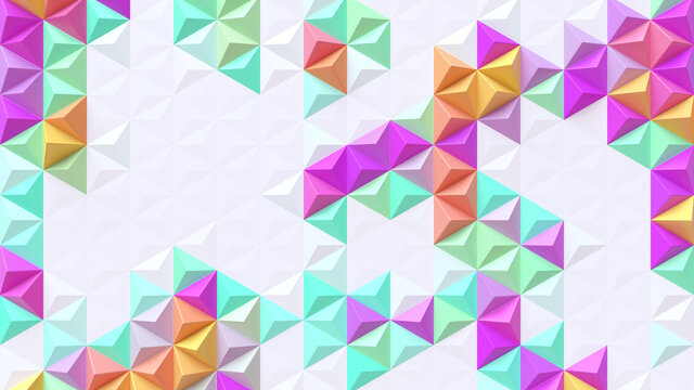 Abstract geometric bright tech pattern. 3D render