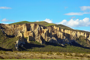Dramatic teeth-like rock pinnacles in Omarama in the New Zealand