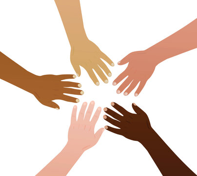 Say no to racism concept. various nations hands. vector