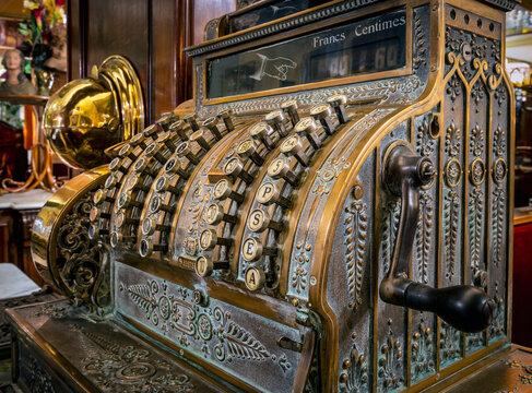 Old antique cash register, Lyon, France