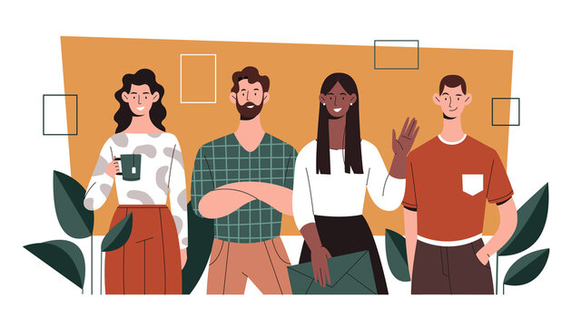 Office life concept, diverse multiracial group of young people, colleagues standing together. Flat vector illustration.