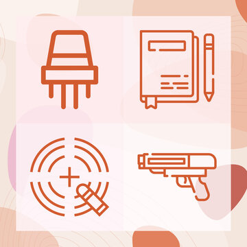 Simple set of bullet related lineal icons