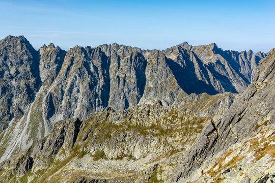 Late summer landscape of the Tatra ridge. Tatra National Park, Slovakia.