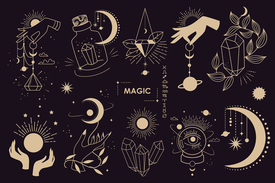 Big set of magic and astrological symbols. Mystical signs, silhouettes, zodiac signs, tarot cards. Vector illustration. Witchcraft art. Stickers, banner, decorations. Esoteric aesthetics. Hand drawn.