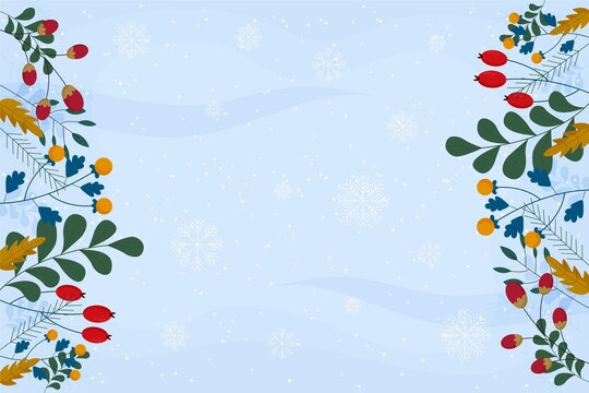 christmas background with snowflakes. flat design winter background illustrator material
