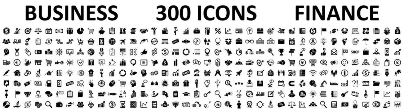 Set of 300 Business icons. Business and Finance web icons isolated. Money, contact, bank, check, law, auction, exchange, payment, wallet, deposit, piggy, calculator, coin and many more - stock vector