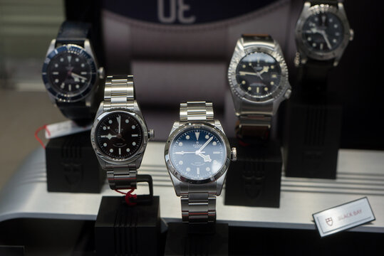 Mulhouse - France - 9 October 2020 - Closeup of Tudor watches in a jewelry store showroom