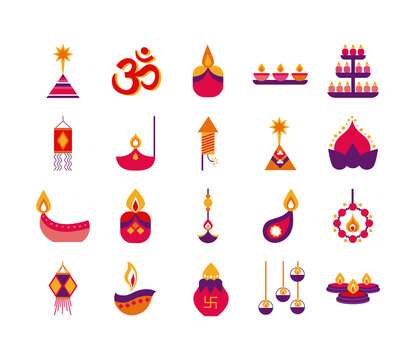 bundle of twenty diwali set flat style