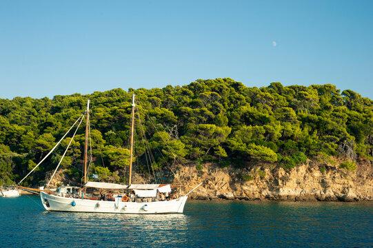 Sailboat off coast island of Skiathos, Greece