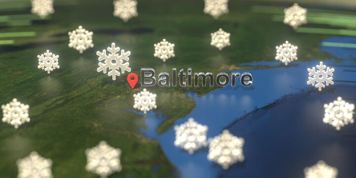 Baltimore city and snowy weather icon on the map, weather forecast related 3D rendering
