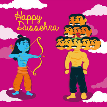 happy dussehra lettering with lord rama and ravana demon