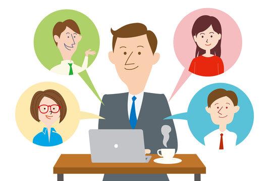 オンライン会議をする男性