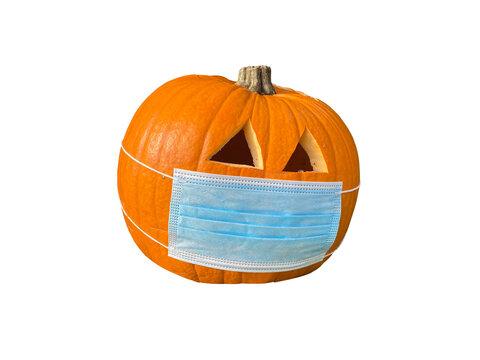 pumpkin with mask Halloween 2020 exempted