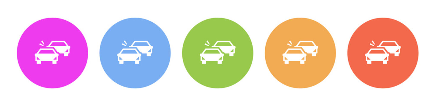 Multi colored flat icons on round backgrounds. Auto, car collision multicolor circle vector icon