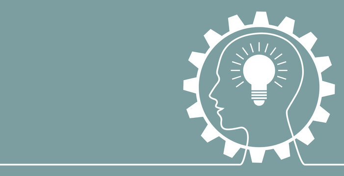 human head with a bulb in a gear for business card, header, banner