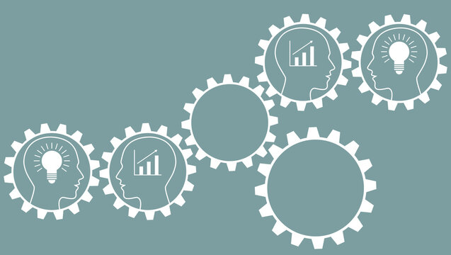gears with human heads, bulbs and success statistics as a concept for company success and teamwork with copy space, white, gold and grey, vector illustration