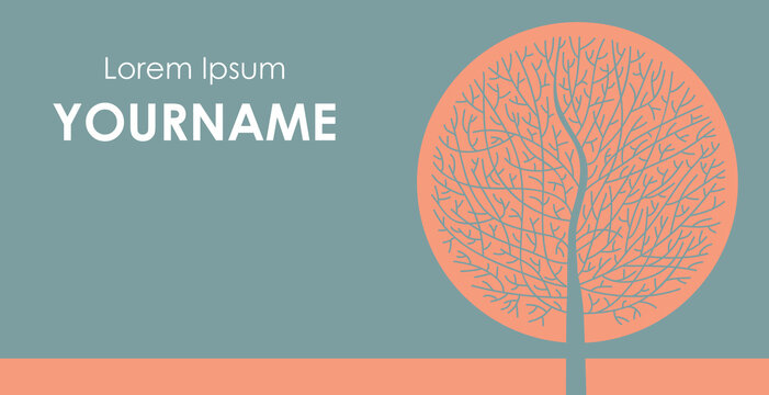 business card healer nature, alternative medicine, with a round tree without leaves with an orange sun background