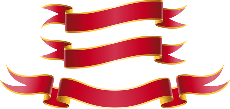 drei rotgoldene Banderolen in Variationen c