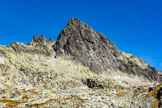 Maly Lodowy Szczyt (Siroka veza) - peak seen from the side of the Starolesna Valley (Velka Studena dolina). It is a frequent target for mountain climbers.