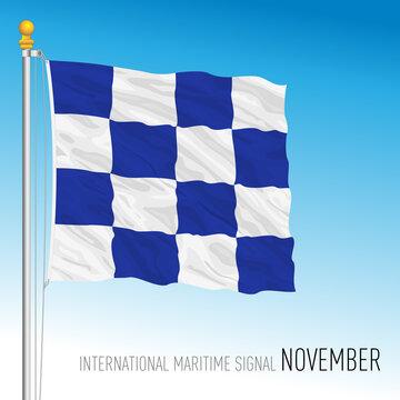November flag, international maritime signal, vector illustration