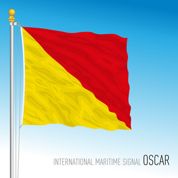 Oscar flag, international maritime signal, vector illustration