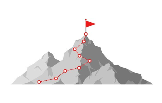 Mountain climbing route to peak. Hiking trip to the top of the mountain journey path. Route challenge infographic career top goal growth plan journey to success. Business climbing vector concept
