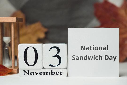 National Sandwich Day of autumn month calendar November