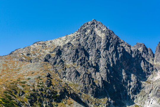Summit - Lomnica Peak (Lomnicky stit). One of the 14 peaks included in the so-called Great Crown of the Tatra Mountains. Slovakia.
