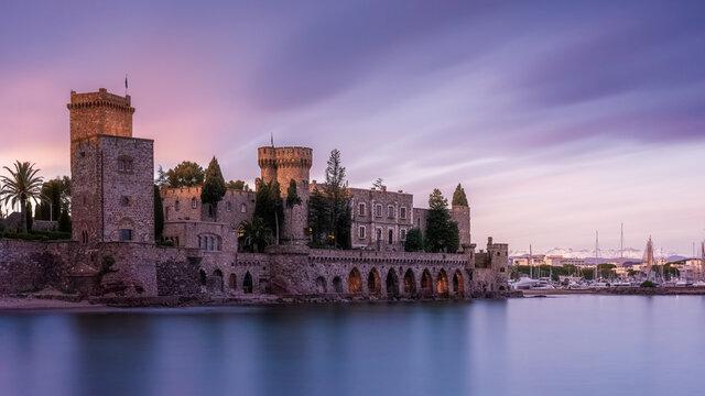 Sunset over the castle of La Napoule