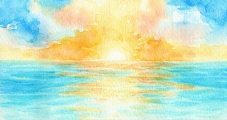 Photo sur Plexiglas Turquoise Bright sunrise, sunset over the tropical sea, watercolor hand drawn illustration