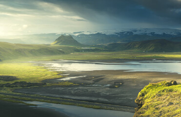 view from mountain, summer sunset, Iceland