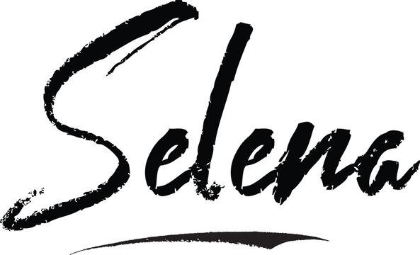 Selena-Female name Modern Brush Calligraphy on White Background