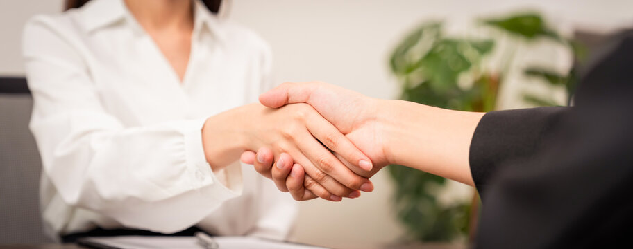 Close up of partnership handshake successful after negotiating business.