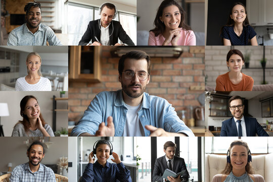 Diverse multiracial colleagues talk speak on video call engaged in group online briefing in home office. Multiethnic businesspeople have webcam team digital conference or virtual event meeting.