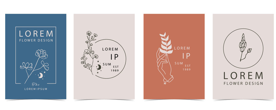 Collection of flower background set with hand, flower, lavender,shape.Editable vector illustration for website, invitation,postcard and sticker